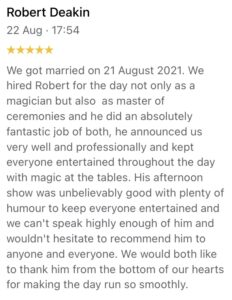 5 star review for magic Wedding Hosting